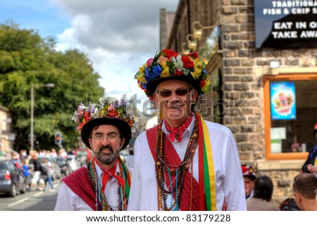 SADDLEWORTH, UK - AUG  20: Morris Dancers at the Rushcart Ceremony on the 20th of August, 2011 in Saddleworth, UK