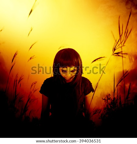 Sadness lonely girl walking in forest,Horror background for halloween concept and movie poster project - stock photo