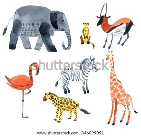 Safari animals. Watercolor illustration. - stock photo