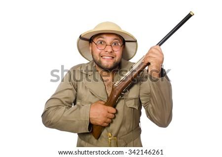 Safari hunter isolated on white - stock photo