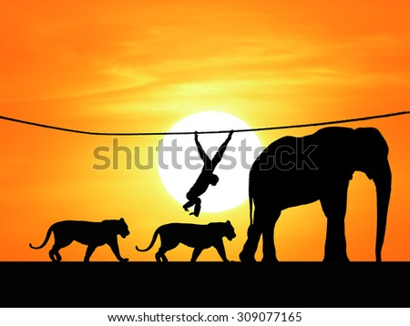Safari in Africa. Silhouette of wild animals - stock photo
