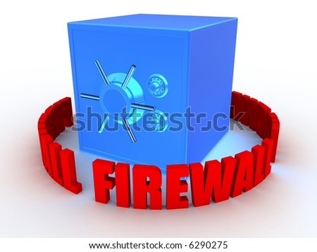 safe and firewall - stock photo