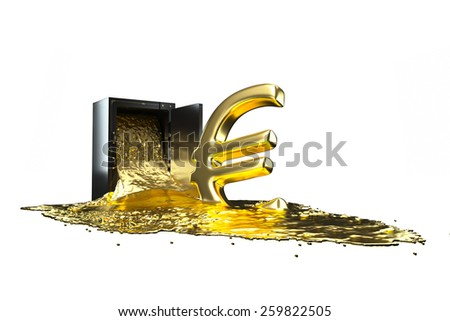 safe and liquid gold. Gold rises euro symbol. path included. - stock photo