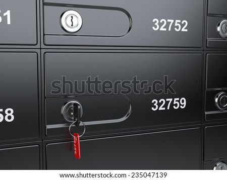 Safe bank cell and key to the safe. 3d illustration high resolution - stock photo