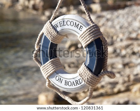 safe belt on the stone beach - stock photo