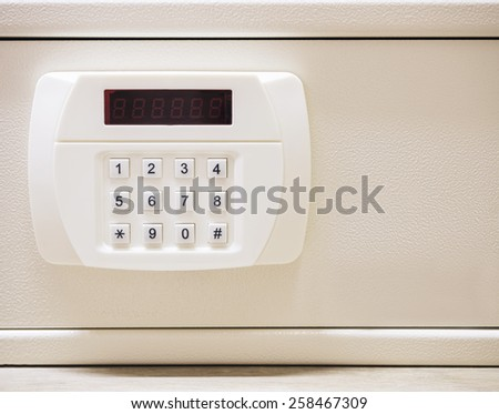 Safe box with Security code button Electronic lock system - stock photo