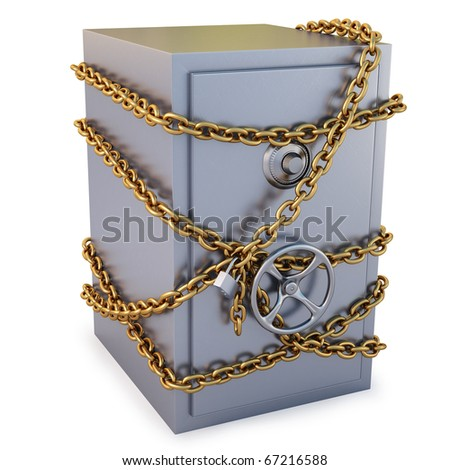 Safe clad in gold chain with a lock. isolated on white. with clipping path. - stock photo