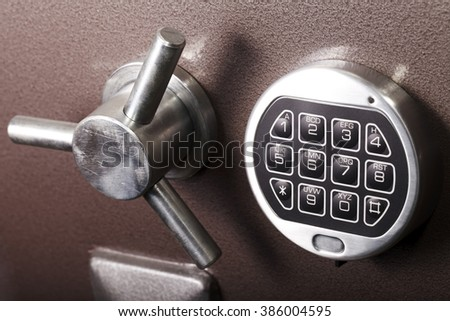safe close-up, protection, security lock, banking and finance - stock photo