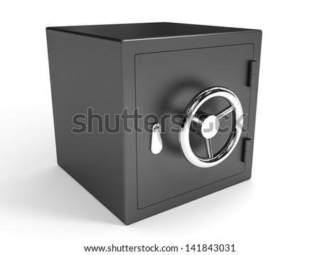 Safe closed on white background. 3D illustration. - stock photo