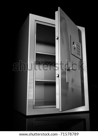 Safe deposit box is empty, open. Isolated on a black background - stock photo
