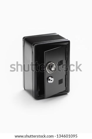 Safe deposit box with number combination lock - stock photo