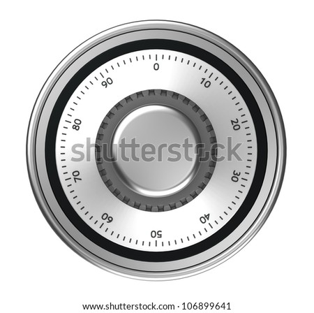 Safe dial with code isolated on a white background