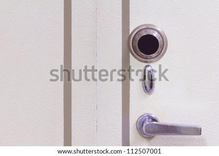 Safe door combination lock wheel. - stock photo