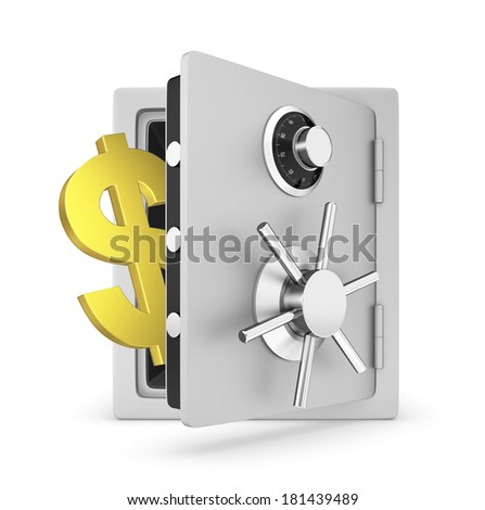 Safe door opened with Dollar sign