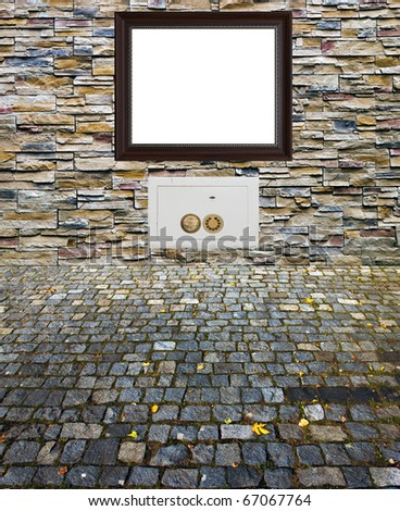 safe frame nice decorative stone wall and old time brick pavement collage contrast old cobbles and new  decorative stones - stock photo