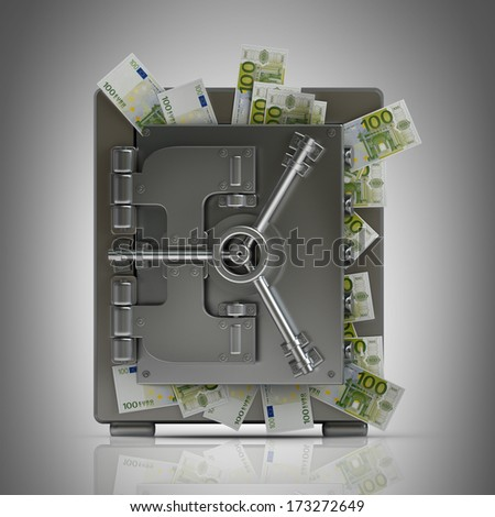 Safe full of fifty euro notes.  High resolution. 3D image