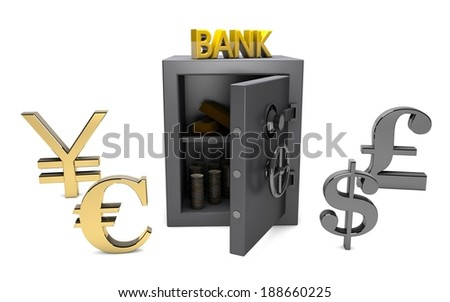 safe, gold, coins, bank, yuan, euro, dollar, pound