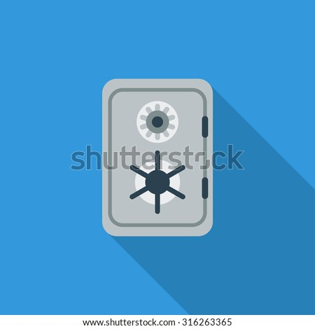 Safe icon. Flat related icon with long shadow for web and mobile applications. It can be used as - logo, pictogram, icon, infographic element. Illustration. - stock photo