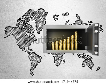 safe in concrete wall with growth money chart and world map - stock photo