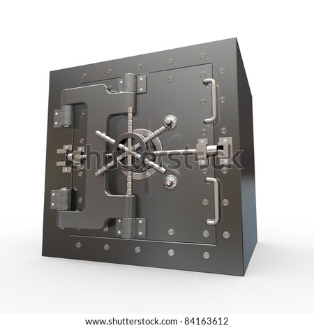 Safe in stainless steel. Bank Vault. 3d - stock photo