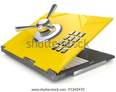 Safe laptop - stock photo
