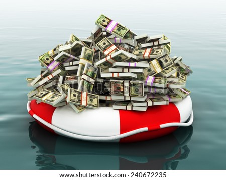 Safe money concept ,Large pile of money floating on a life preserver.  - stock photo