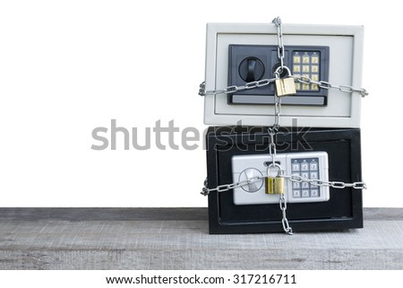 Safe on white Double lock system - stock photo