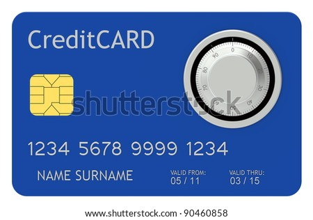 Safe Pay. Blue Credit Card with combination lock. - stock photo