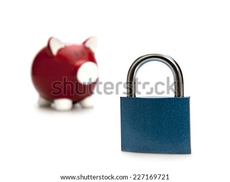 Safe saving. Piggy bank with open padlock on the white background - stock photo