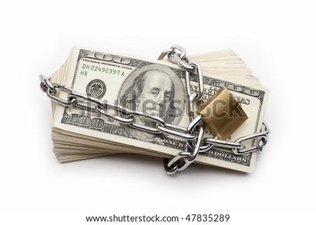Safe secure chain locked stack of hundred dollar bills - stock photo