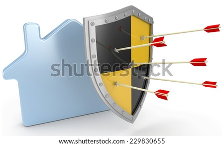Safe security home insurance policy shield protection for house - stock photo