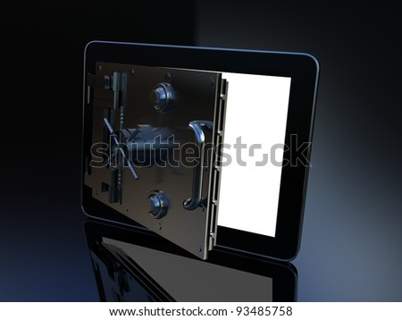 Safe tablet on black background, 3D