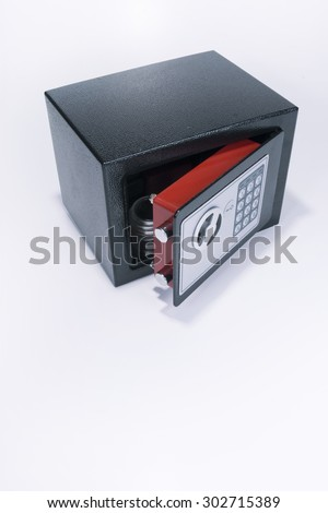 Safe, valuables, coin collection, white background