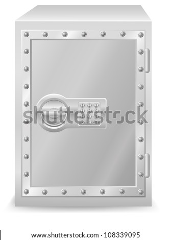 safe with electronic combination lock illustration isolated on white background