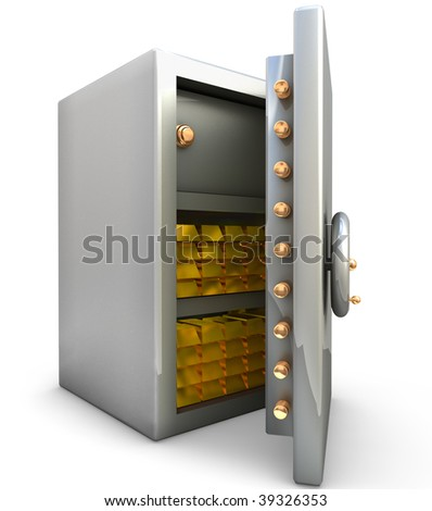 Safe with gold bar on white background - stock photo