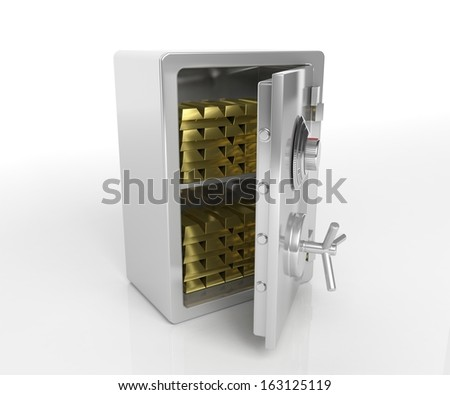 Safe with gold isolated on white - stock photo