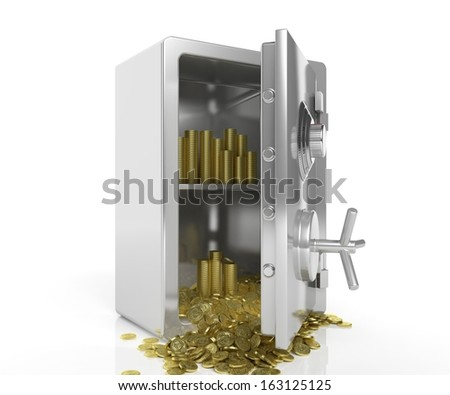 Safe with golden coins isolated on white - stock photo