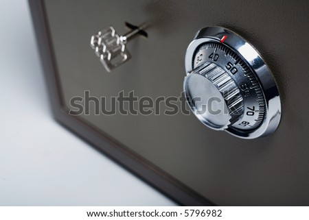 Safe with key lock and combination lock - stock photo