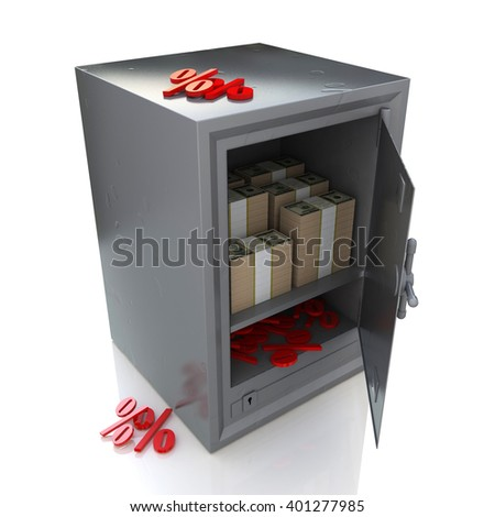 Safe with money and percent signs, Banking security. 3D rendered illustration - stock photo
