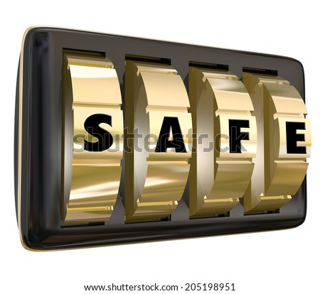 Safe word on gold dials of a lock to keep your information, documents valuables protected  - stock photo