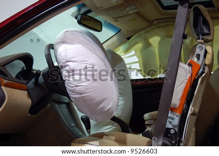 safety air bag demonstration - stock photo