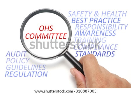 Safety and health at workplace conceptual, focus on the word OSH Committee