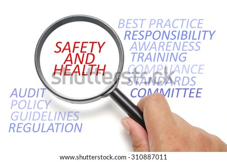 Safety and health at workplace conceptual, focus on the word Safety and Health - stock photo