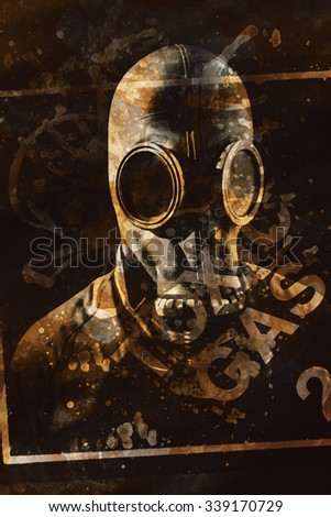 Safety and pollution creative design on a man wearing gas mask apparatus with overlayed toxic gas label. Chemical hazard - stock photo