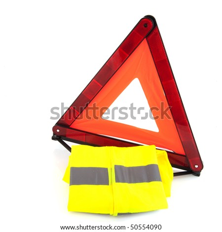 Safety attributes in the car isolated over white