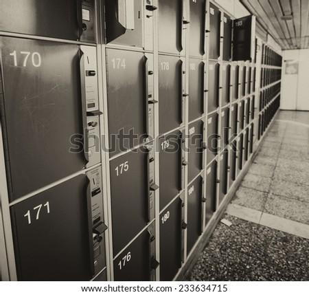 Safety boxes inside a station. - stock photo