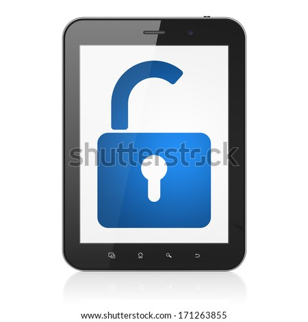 Safety concept: black tablet pc computer with Opened Padlock icon on display. Modern portable touch pad on White background, 3d render