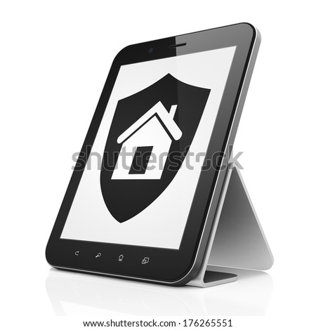 Safety concept: black tablet pc computer with Shield icon on display. Modern portable touch pad on White background, 3d render - stock photo
