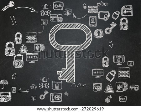 Safety concept: Chalk White Key icon on School Board background with Scheme Of Hand Drawn Security Icons, 3d render - stock photo
