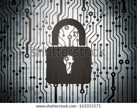 Safety concept: circuit board with  Closed Padlock icon, 3d render - stock photo
